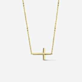 Gouden collier kruis 0,8 mm 42 + 3 cm