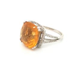 Occasion ring met gele citrien en diamant