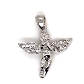 Zilveren engel hanger met zirkonia's