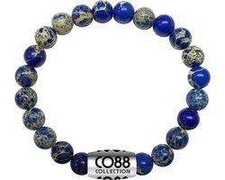 CO88 Collection Elemental 8CB 17013 Rekarmband met Stalen Element - Sediment Natuursteen 6 mm - One-size - Blau