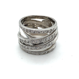 Occasion witgouden gekruiste ring pavé gezet diamant 0.65
