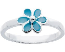 Lilly ring met bloem - zilver - blauw - mt 40