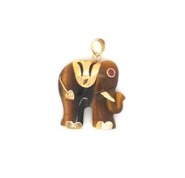 Occasion olifant hanger van tijgeroog en robijn