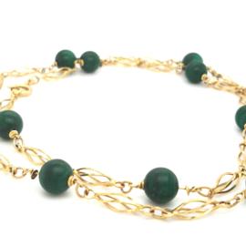 Occasion gouden collier met groene malachiet edelstenen