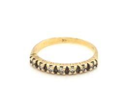 Occasion geelgouden rij ring met 7 diamanten 0.21ct SI F