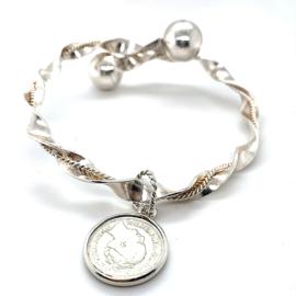 Occasion zilveren klemarmband 2 bollen en munt bedel