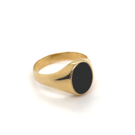 Occasion gouden heren zegelring met zwarte onyx