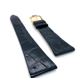Krokodillen lederen horloge band zwart 20mm