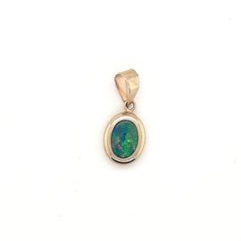 Geelgouden hanger opaal