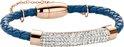 Armband - gevlochten leer en staal elementen - zirkonia 1 mm - one-size - blauw / rosékleurig