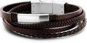 frank 1967 Leather 7FB 0380 Leren Heren armband - 20 cm - Zilverkleurig / Bruin