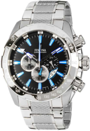 Festina F16488/3 Chronograaf - Horloge - Staal - Zilverkleurig - 44.5 mm