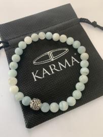 Karma armband licht blauw agaat - 21 cm - 86797