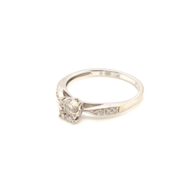 Occasion witgoud solitair diamant point ring