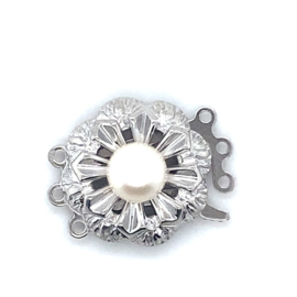 3-Snoer zilveren sluiting met imitatie parel
