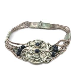 Occasion zilveren filigrain armband met onyx