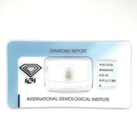 IGI Diamant - 0.51 ct - rond briljant - I2 O-P