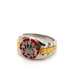 Zilveren bicolor ring Crown Collectie