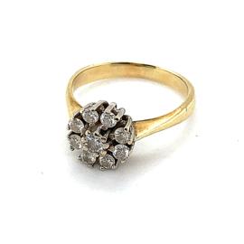 Occasion bicolor gouden rozet ring met 0.35ct