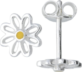 Lilly oorknopjes opengewerkte bloem - zilver - geel