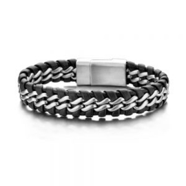Black and silver braided steel and leather bracelet with stainless steel closure