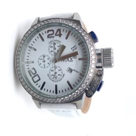 Max XL Watches polshorloge met witte band en strasstenen