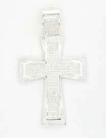 Zilveren kruis vol bezet met zirkonia's