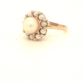 Occasion vintage ring met kleine en grote parels