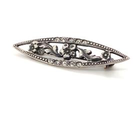 Occasion zilveren markiesvormige broche