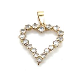 Occasion gouden open hart hanger met zirkonia