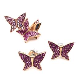 Occasion Swarovski vlinder oorknoppen en oorcuff