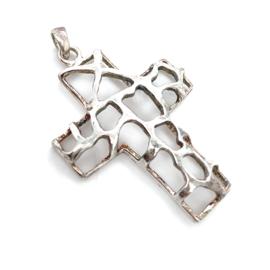 Occasion zilveren opgewerkt kruis