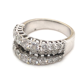 Occasion witgouden 3 banden ring gezet met diamant 2.86ct VSI-G