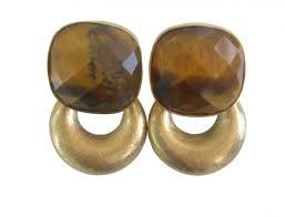 vierkant tijgeroog steen met gouden kleine hanger
