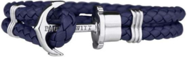 Paul Hewitt Leather Bracelet PH-PH-L-S-N-XXL - Armband - Leer - Blauw 21cm