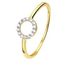Ring geelgoud rondje zirkonia