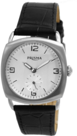 Prisma Herenhorloge P.2776 Lederen band Edelstaal