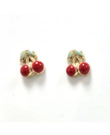 14 karaat kinderoorknoppen - kers - goudkleurig / rood / groen