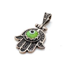 Occasion zilveren Fatima handje met een groen oog