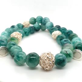 Cataleya collier met gekleurde jade en zilver