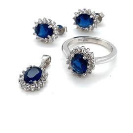 Occasion zilveren set met synthetische blauwe saffier