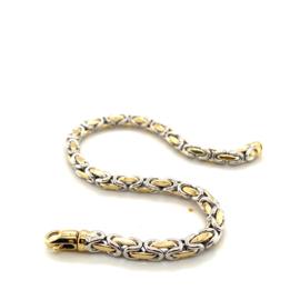 Nieuwe bicolor gouden armband met koningsschakels 21cm