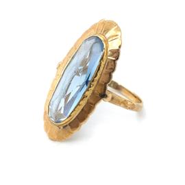 Occasion gouden ring met blauwe aquamarijn