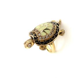 Occasion unieke gouden ring met schildpad