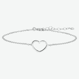 Zilveren armband hart 1,3 mm 16 + 3 cm