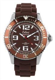 Colori 5-COL044 - Horloge 44mm - 44 mm - Siliconen - Bruin
