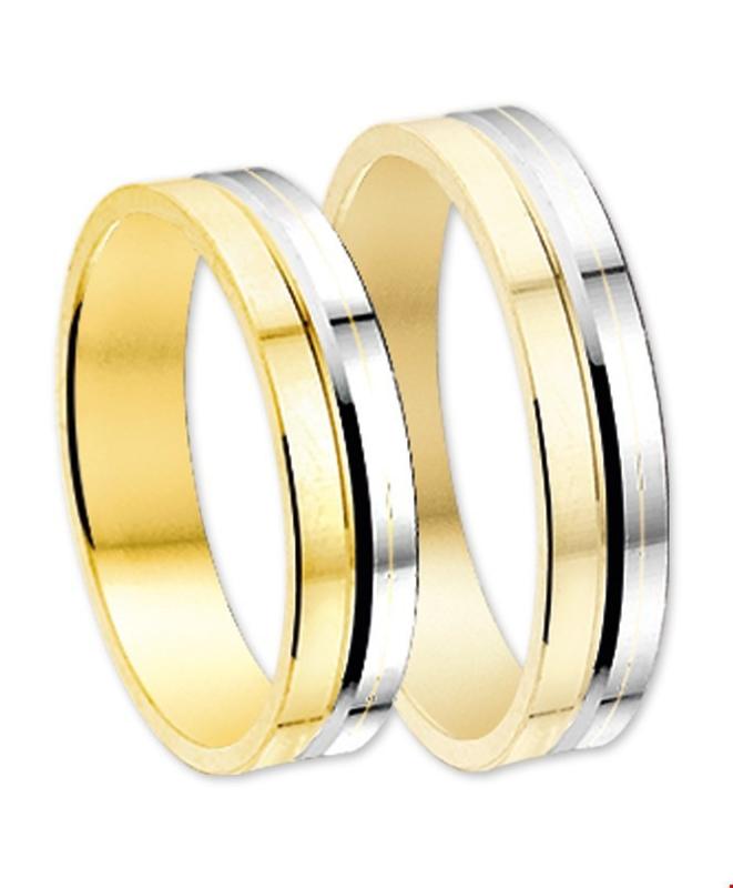 Bicolor Goud Zilver Gediamanteerd Gouden Trouwringen