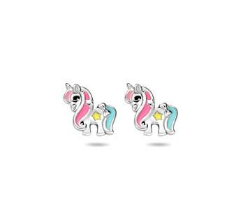 Oorknoppen eenhoorn / unicorn zilver
