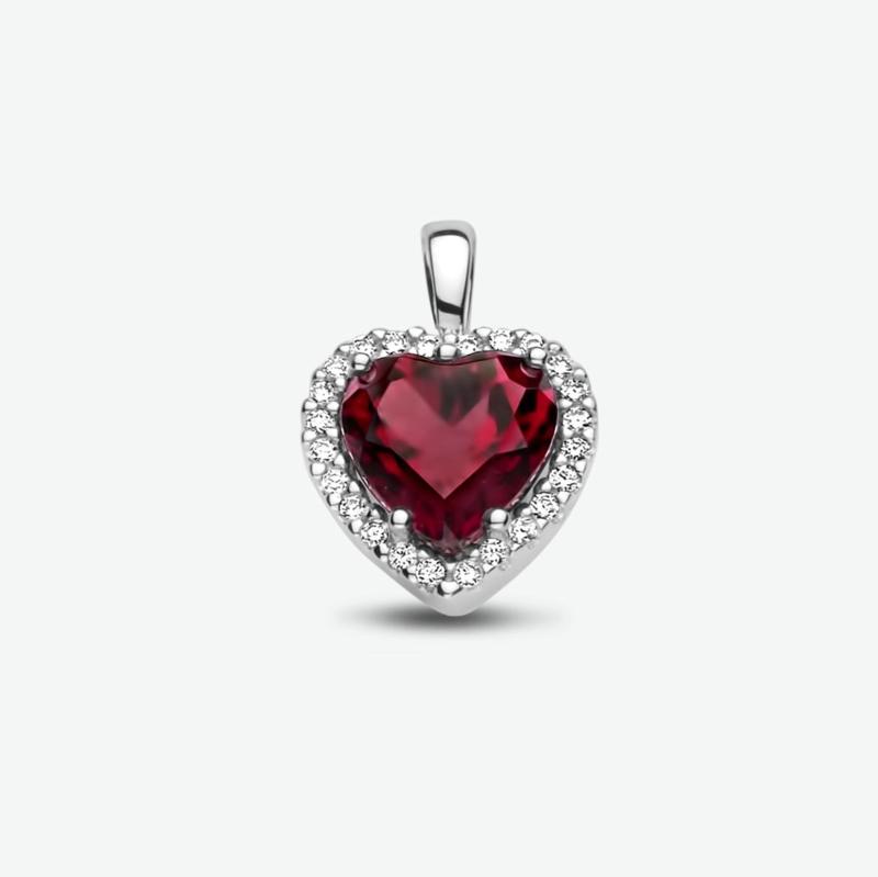 hanger hart rhodoliet en diamant 0.10ct h si halo