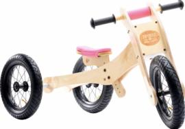 Trybike Wood 4-1 Loopfiets Roze of Bruin